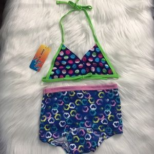 Kids Swimwear Circles Top with Hearts Underwear